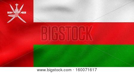 Flag Of Oman Waving, Real Fabric Texture