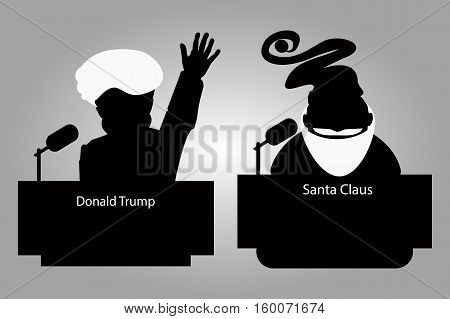 Donald Trump and Santa Claus of a tribune silhouettes an icon for an interview a hand up. speaker of a press conference. The microphone on a light background. Vector illustration