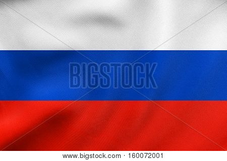 Flag Of Russia Waving, Real Fabric Texture