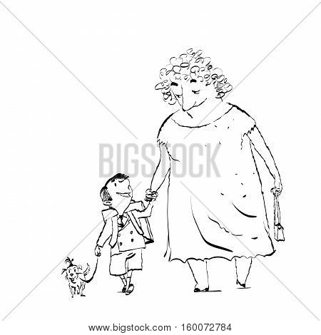 Grandma, grandson and dog on a walk. Black and white sketch drawing. The nanny and the child