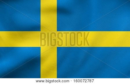 Flag Of Sweden Waving, Real Fabric Texture