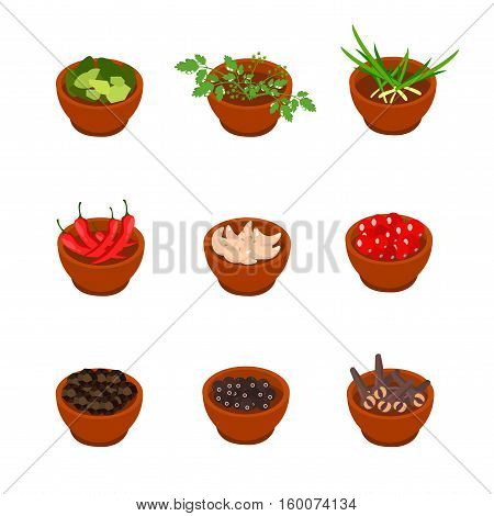 Isometric And Cartoon Style Flavorful Spices, Condiments Icon. Vector Illustration. White Background