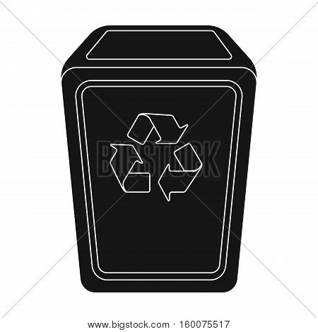 Garbage can icon in black style isolated on white background. Trash and garbage symbol vector illustration.