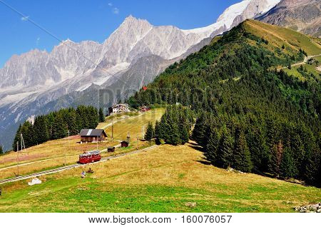 Touristic tramway in french Alps on summer