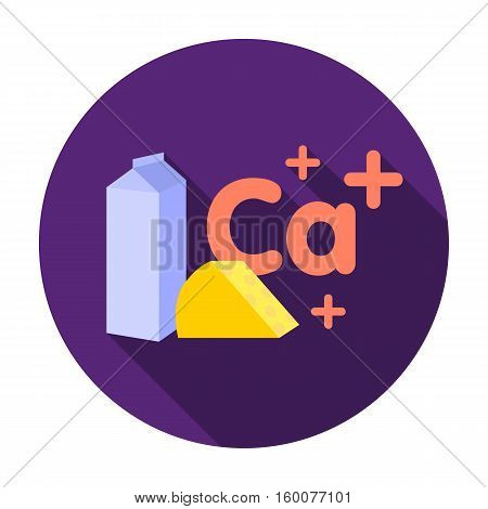 Sources of Calcium icon in flat style isolated on white background. Dental care symbol vector illustration.