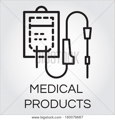 Sketch icon of intravenous dropper drawn in outline style. Line black pictograph of medical equipment and products. Simple logo for button desing, websites or mobile apps. Vector illustration