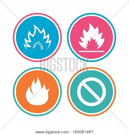 Fire flame icons. Prohibition stop sign symbol. Colored circle buttons. Vector