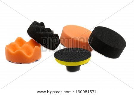 Set of sponges for polishing the car isolate on a white background