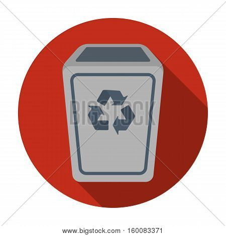 Garbage can icon in flat style isolated on white background. Trash and garbage symbol vector illustration.