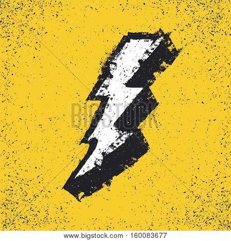 Lightning bolt grunge icon. Thunderbolt illustration. Levin grunge symbol. Grunge design element