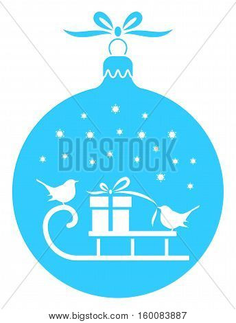 vector sledge with gift and couple of birds in christmas ball isolated on white background