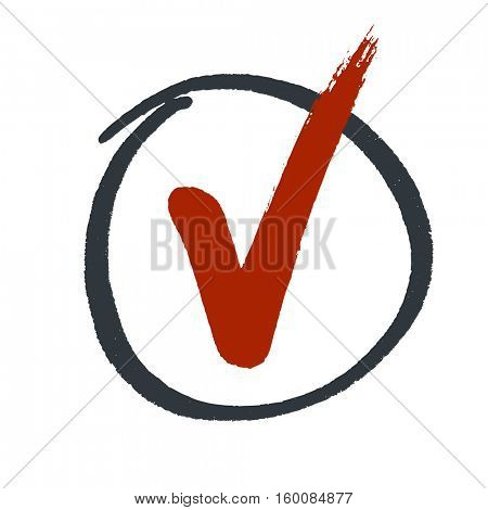Grunge red check mark in hand drawn circle area