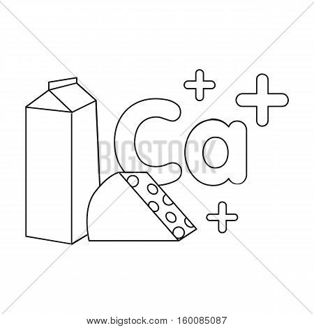 Sources of Calcium icon in outline style isolated on white background. Dental care symbol vector illustration.