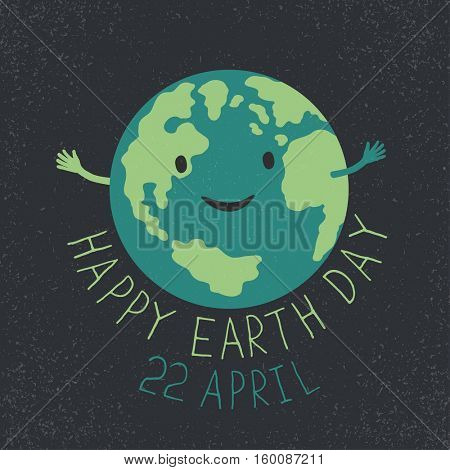 Earth Day Illustration. Earth smiling and reveals a hug.