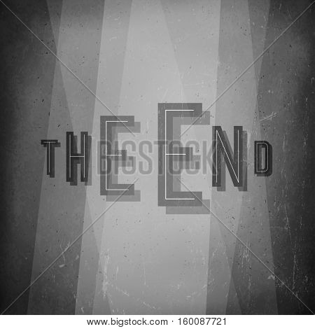 The end. Film noir styled abstract screen. Old cinema background