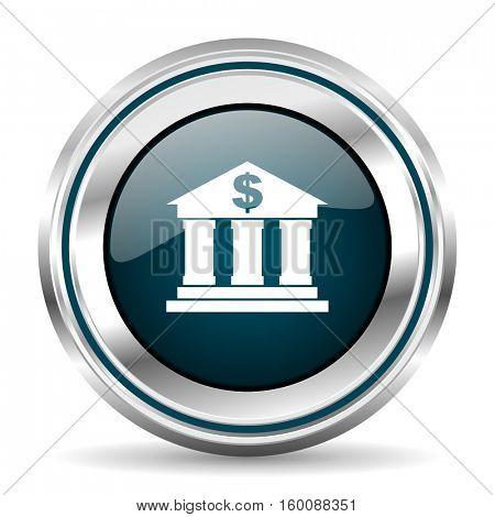 Bank vector icon. Chrome border round web button. Silver metallic pushbutton.