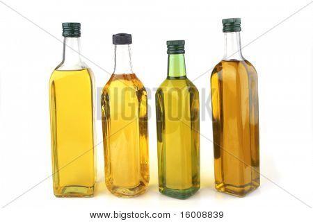 olive oil bottles isolated over white background