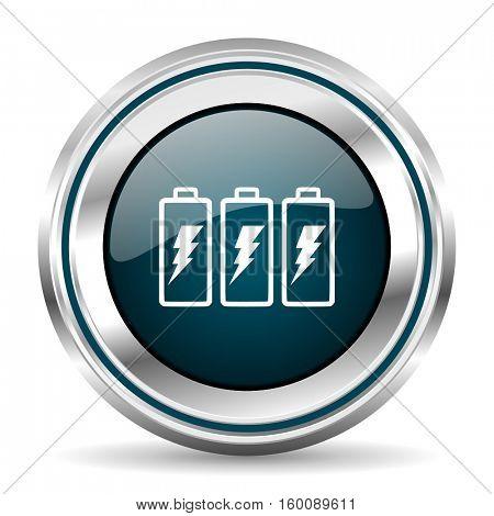 Battery vector icon. Chrome border round web button. Silver metallic pushbutton.