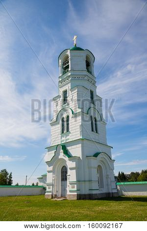 Bell tower of the Transfiguration complex Holy Trinity Alexander Svirsky Monastery in Karelia, north of Russia.