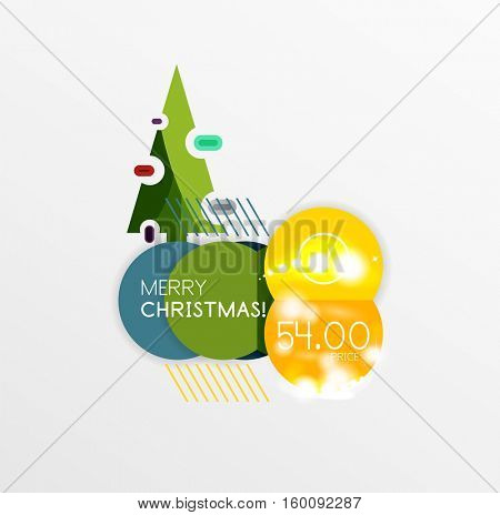 Christmas and New Year sale sticker templates, illustration