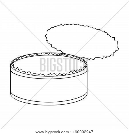 Opened metal tin can icon in outline style isolated on white background. Trash and garbage symbol vector illustration.