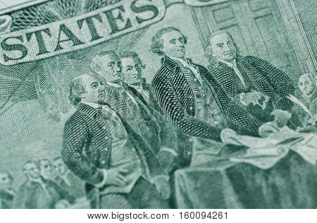 Signing declaration of independence from us two dollar bill macro united states money closeup
