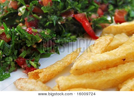 Tabbouleh and French Fries