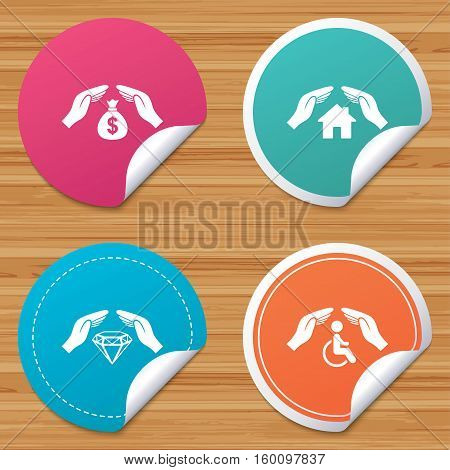 Round stickers or website banners. Hands insurance icons. Money bag savings insurance symbols. Disabled human help symbol. House property insurance sign. Circle badges with bended corner. Vector