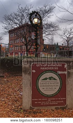 Syracuse New York USA. December 3 2016. Land and Water Conservation Fund Plaque in Hanover Square syracuse New York