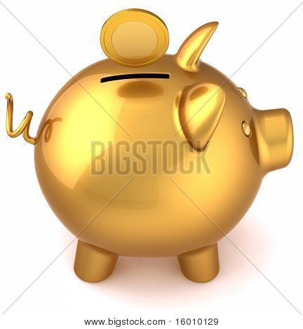 Piggy bank golden classic version
