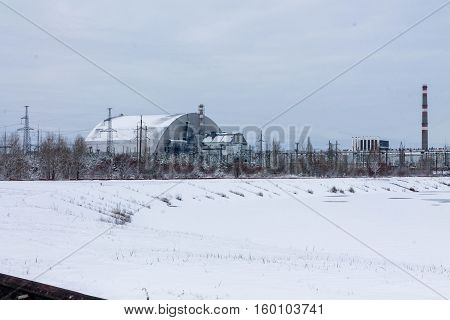 Chernobyl Ukraine -- December 3, 2016. The new sarcophagus over the fourth reactor at the Chernobyl nuclear power plant.