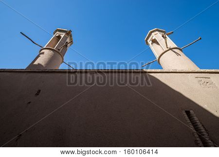 wind catcher towers of house in Kashan Iran