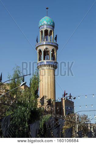 Mosque minaret in Kashan city in Iran