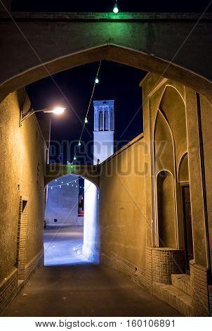 Narrow street in Kashan city in Iran