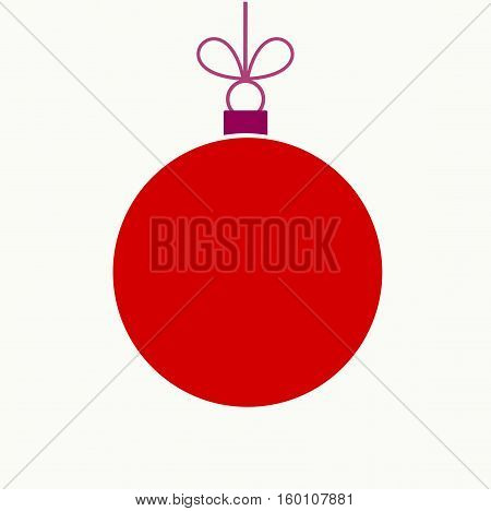Christmas red ball ornament isolated on white background illustration