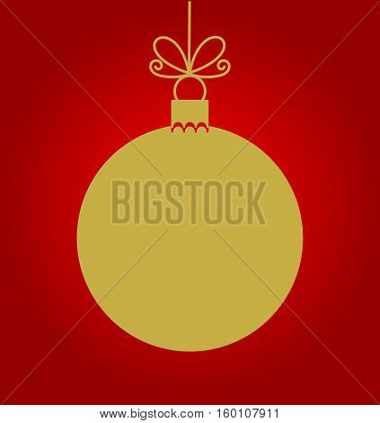 Christmas gold bauble on red background illustration