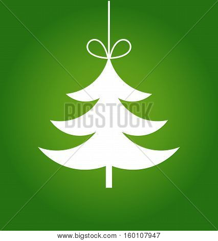 Christmas tree hanging ornament illustration on green background