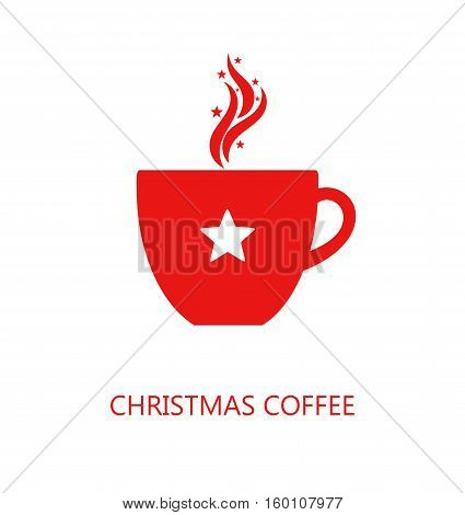 Christmas red coffee cup icon illustration on white
