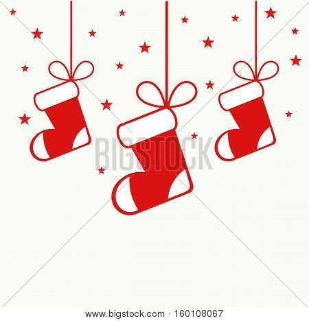 Christmas red stockings hanging ornaments illustration background