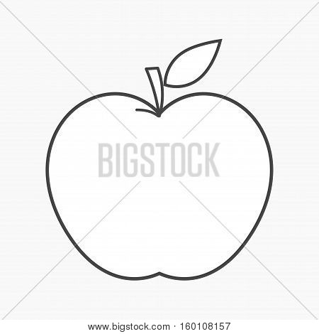 Apple outline shape icon with leaf isolated illustration