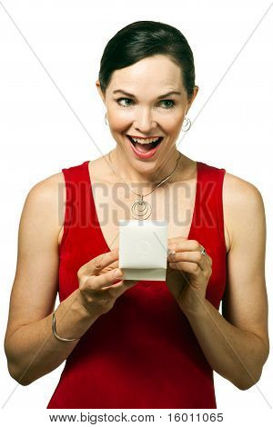 Very Attractive Woman  Opening Jewellery Gift Box