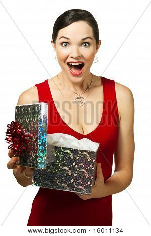 Beautiful Young Woman Opening Gift Box