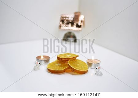Abstract Decoration Of Christmas Dry Oranges.