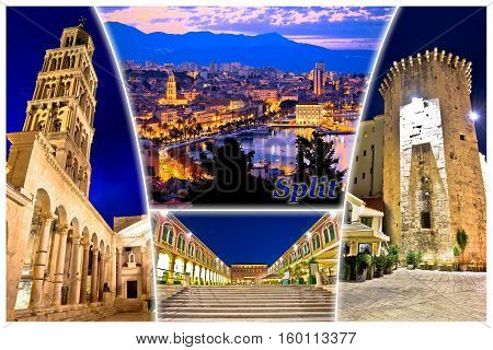City Of Split Evening Postcard With Label