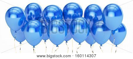 row from blue party balloons 3D rendering isolated on white background