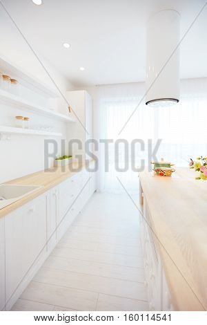 White Wooden Kitchen With Island Cooker Hood And Hanging Shelves
