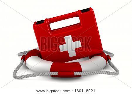 lifebuoy on white background. Isolated 3D image