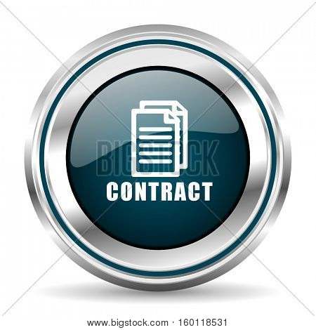 Contract vector icon. Chrome border round web button. Silver metallic pushbutton.