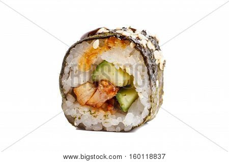 Japanese Roll Rice, Nori, Cucumber, Eel Sauce. Close-up On White