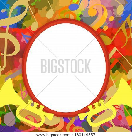 Music photo frame with trumpets and musical notes on bright background